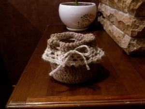Мешочек для подарков из натуральной джутовой нити