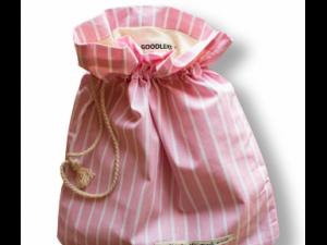 """Эко-хлебница """"Полоска розово-серая"""", 32х36см"""